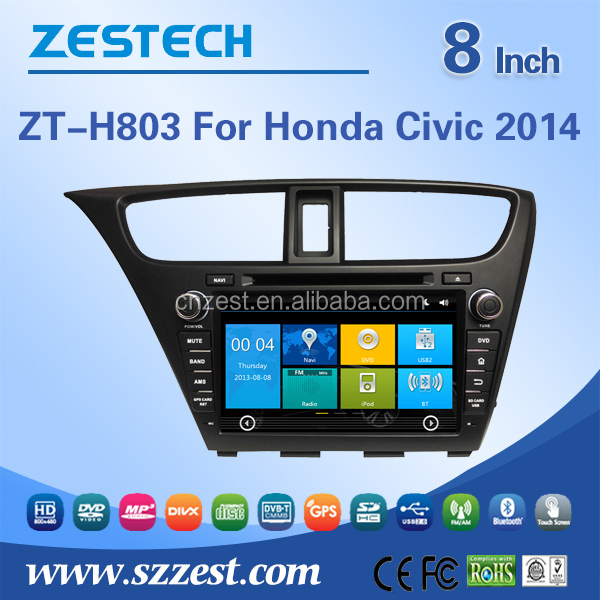 Consumer electronics 8 inch auto parts for honda civic 2014 car dvd player car stereo with GPS DVD USB/SD AM/FM SWC