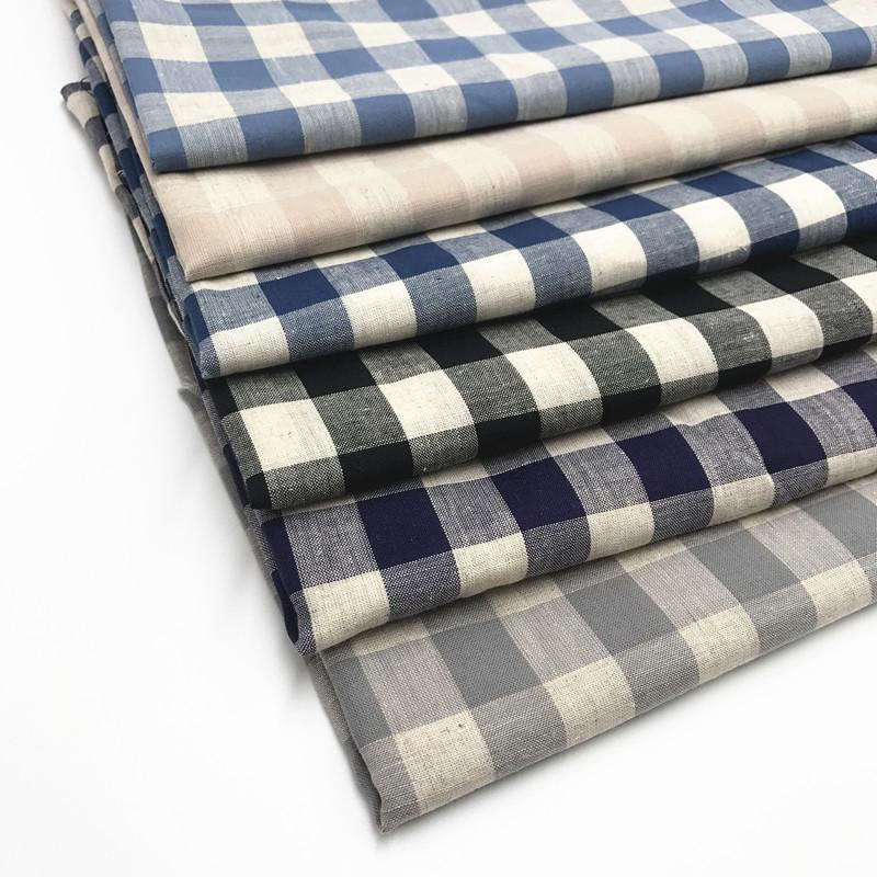 Venda quente Camisa Xadrez Roupas de Linho Tecido de Algodão Tecido Têxtil de Casa