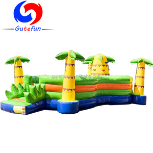 Indoor jungle theme inflatable play island bouncer for kids