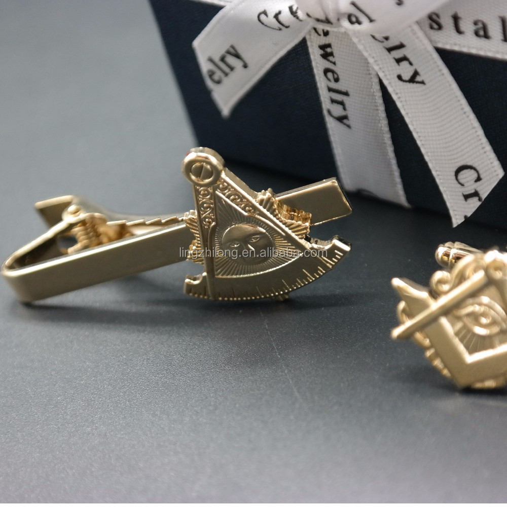 for Men Cuff Links or Tie Clips Jewelry Type Cool masonic tie clip gold plated jewelry