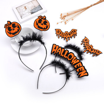 Halloween Headband Ghost Festival Headwear Supplies Plastic Bat Pumpkin Headband