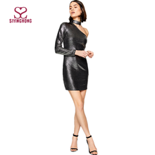 2017 Silver hot selling one shoulder long sleeve sexy girl tight shining sequin mini dress