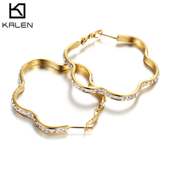 Womens flower Stainless Steel hoop Earrings, gold circle Hoop Earrings with White Diamond