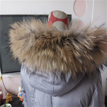 Factory Direct Supply Real Raccoon Fur Hood Trim Detachable Raccoon Fur Collar