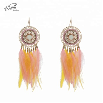 Duoyun 2018 Holiday Gift Pink Feather Earrings Women Indian Style Gold Filigree Earring Ethnic Jewelry