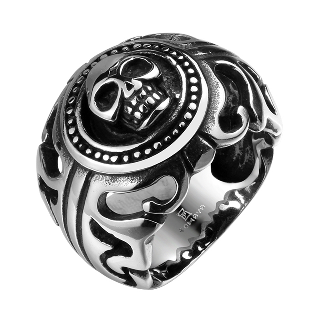 Wide Cast Punk Rock Skull Men's Single Finger 316L Men Stainless Steel Ring