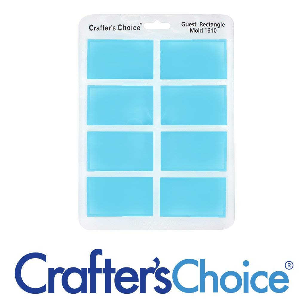 Pack of 1, 2.5 x 1.5 x .75 Crafters Choice Silicone 1610 Guest 8 Cavity Rectangle Mold for Making Soap Samples
