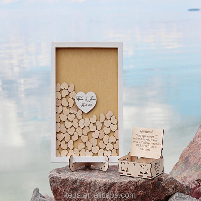 Wooden wedding heart drop guest book
