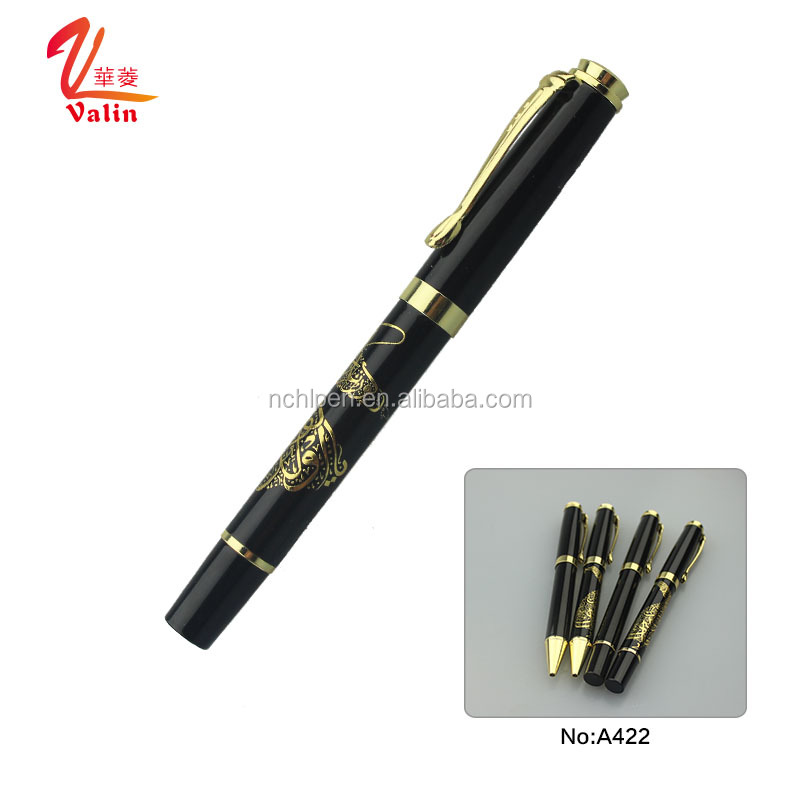 Exquisite high-end embossed pen black pen with gold clip emboss logo roller pen