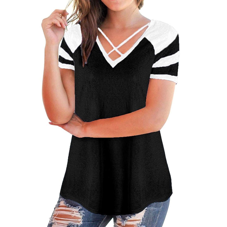 AmyDong Womens Summer Shirts Women's Casual Short Sleeve Patchwork V-Neck T-Shirt Polyester Tops Summer Blouse