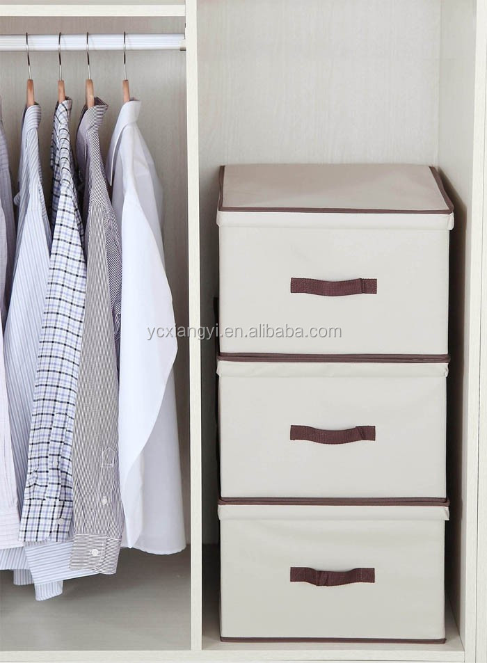 Decorative Boxes For Closets : Decorative woven collapsible fabric lidded shelf storage