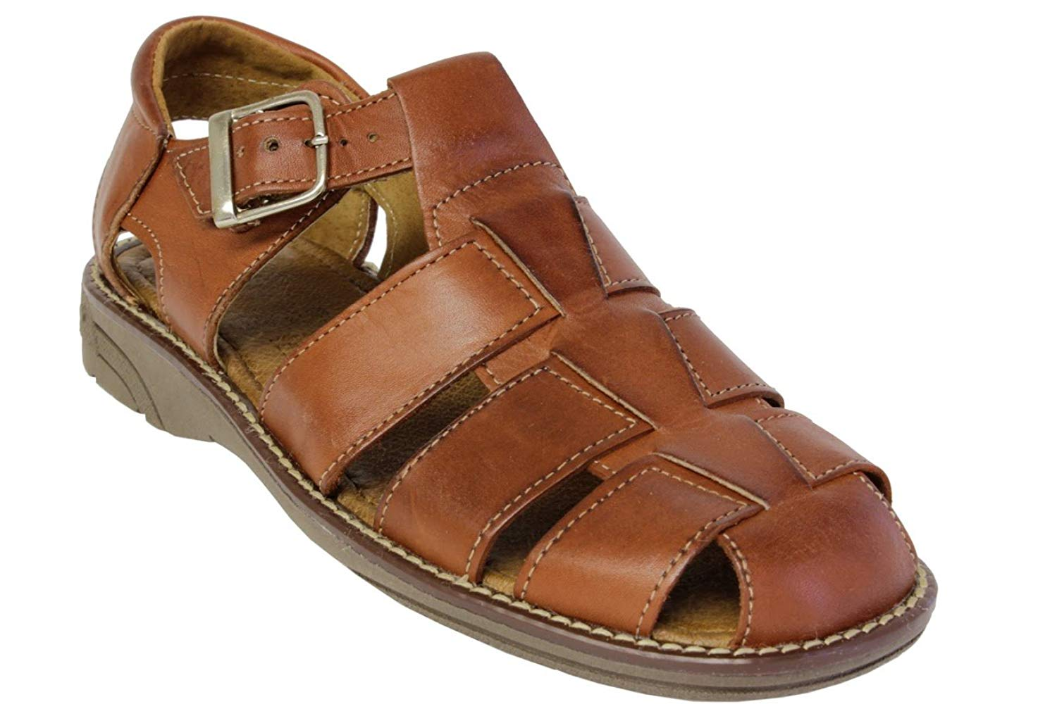 b56cdd78841f Get Quotations · Cowboy Professional Men s 340 Rustic Cognac All Real Leather  Mexican Buckle Huaraches Closed Toe