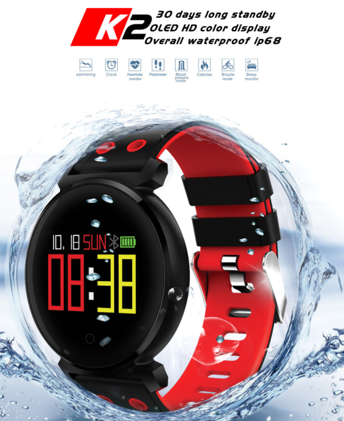 K2 fitness bracelet ip68 waterproof health wrist blood pressure tracker fitness band