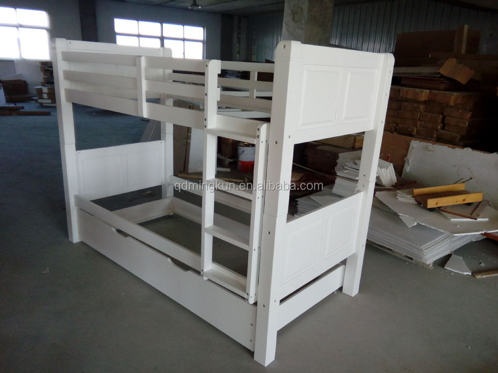 Hot Selling Cheap Twin / Double Adult Bunk Bed with Ladder in Solid Pine Wood