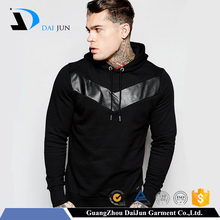 Daijun oem high quality 100% cotton fashion men black with hood wholesale hoodies for men