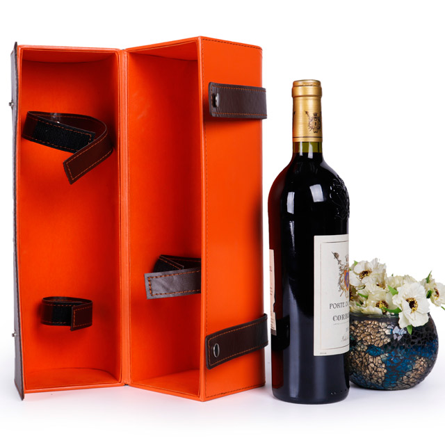Red wine gift leather box for wine bottle wine glass display box