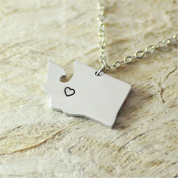 Yiwu Aceon Stainless Steel Washington WA Georgia GA North Carolina NC necklace heart State Map Pendant
