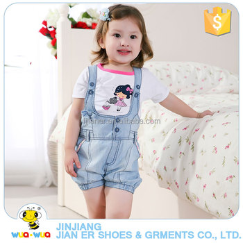 Wholesale boutique baby girls outfits suspenders shorts suit