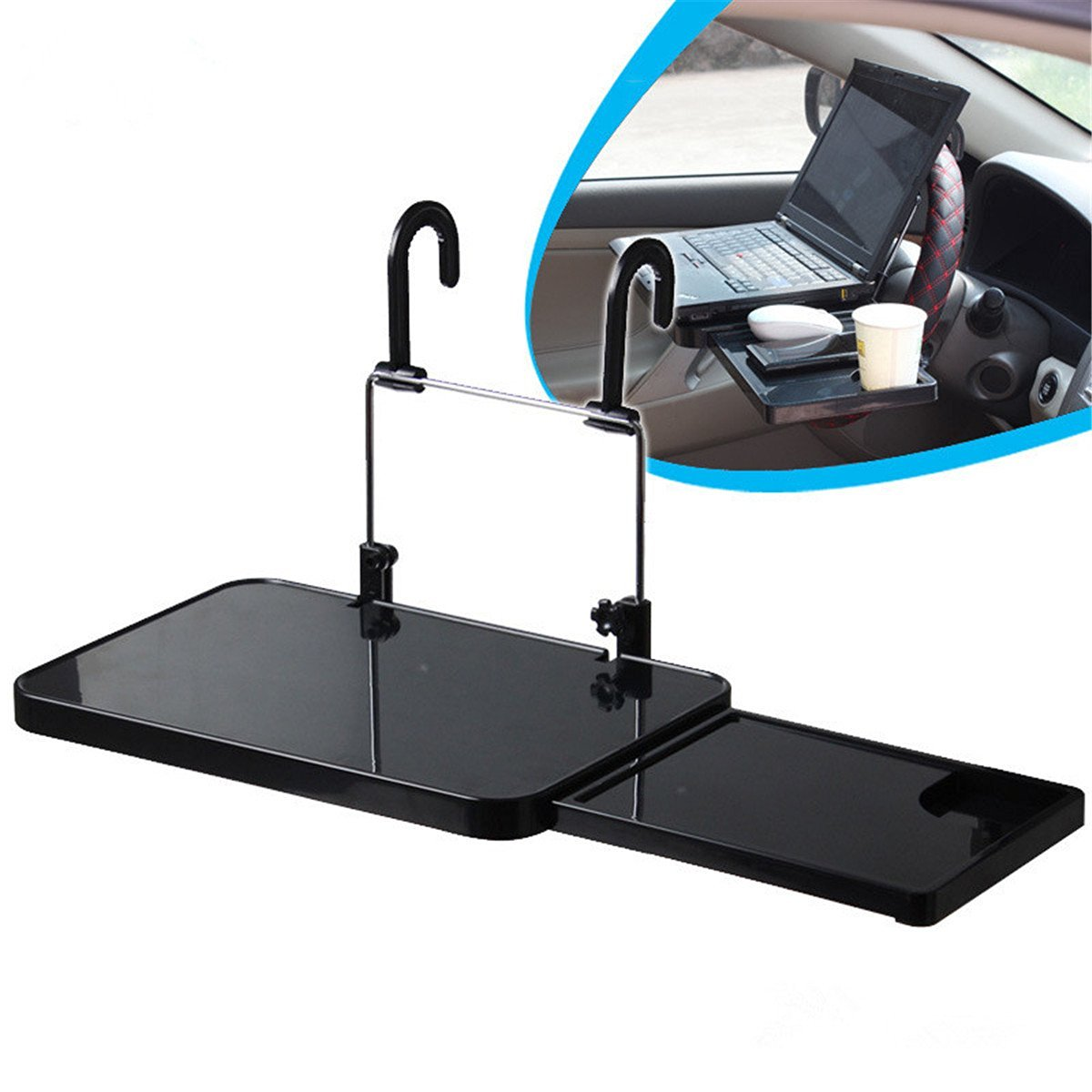 Zebratown Multi-functional Car Vehicle Seat Portable Foldable Car Seat Back Pc Mount Tray Black Table Laptop Notebook Desk Table Car Dining Food Drink Desk Cup Holder