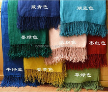 Wholesale Korean Japan Fashion Women Solid Color Plain Tassel France Linen Scarf Shawl