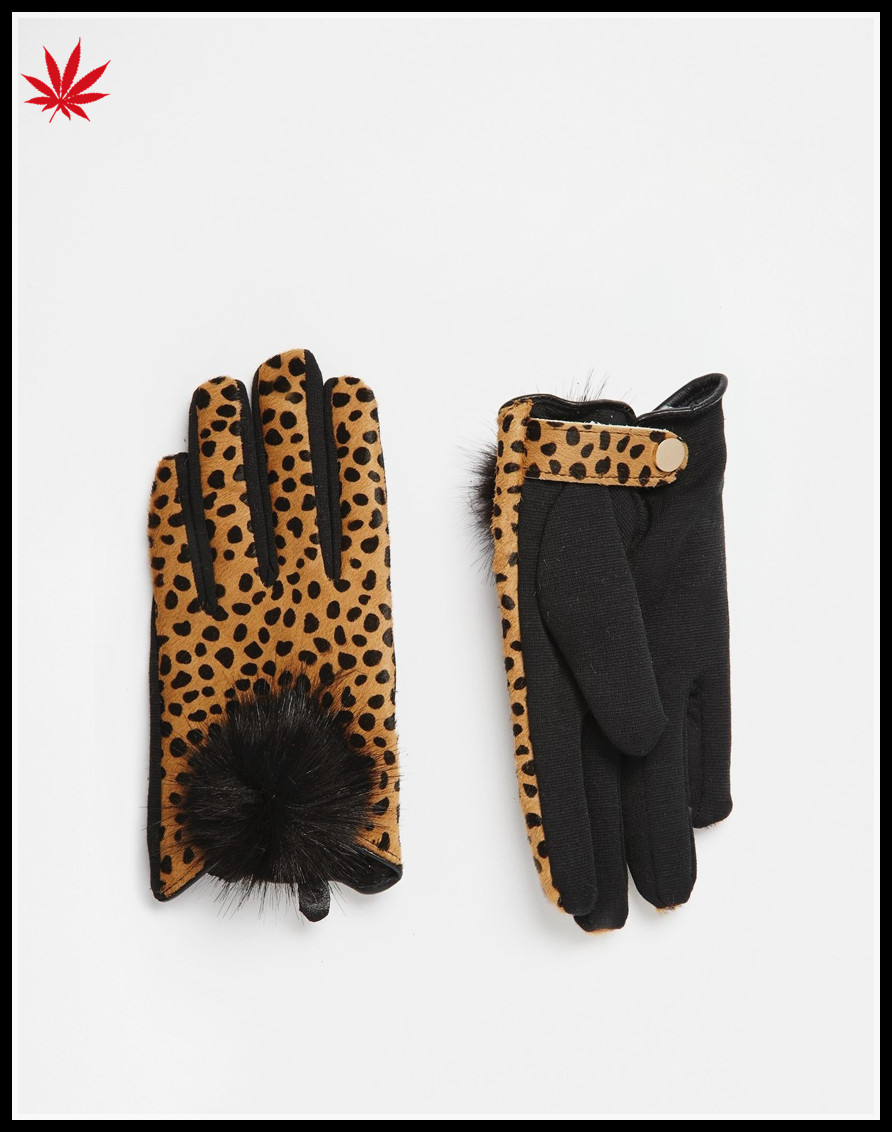 ladies cheap micro velvet leopard grain hand gloves with bulb