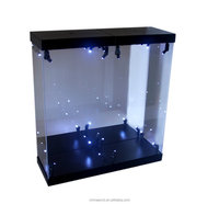 Perspex/organic glass led illuminate acrylic box display case for action figure display