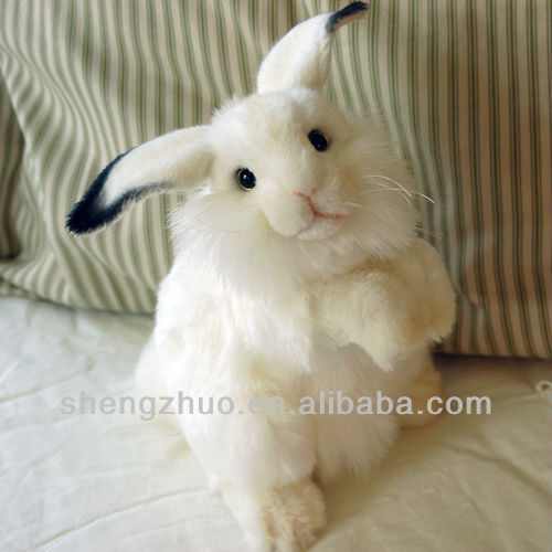 Lifelike white bunny plush toy for easter