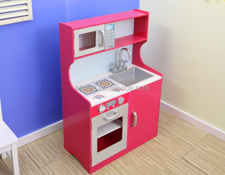 PLK520 Role Play Interactive Wooden Play Kitchen With Plastic Accessories, Easy Assembly Wooden Kitchen Toy Set