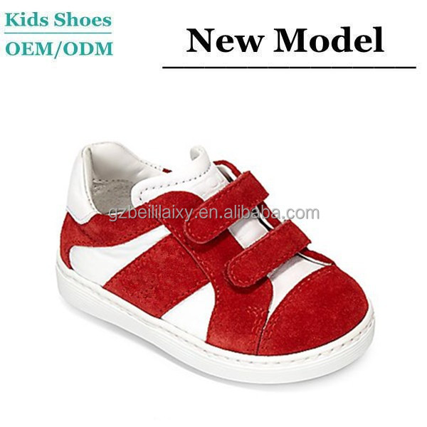Suede Leather Upper Red and White Beautiful Design Wholesale Children Girls or Boy Shoe Running Sports Shoes