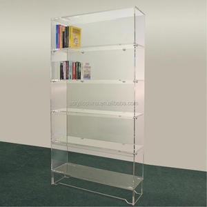 Floor standing tiered acrylic display shelving units for books