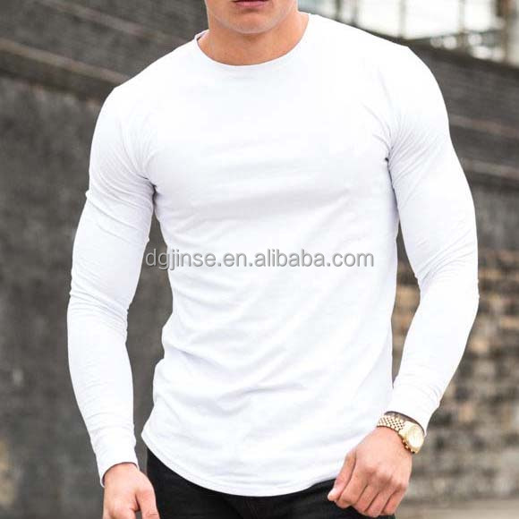 new design cheap factory price muscle fit gym wear blank long sleeve t shirt for men