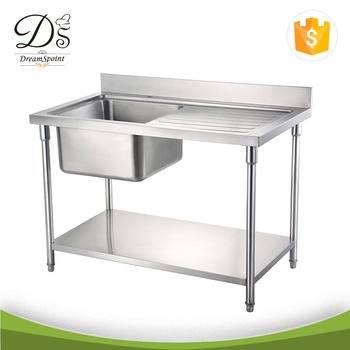 Industrial Mesa De Trabajo De Acero Inoxidable Para Cocina Con Una ...