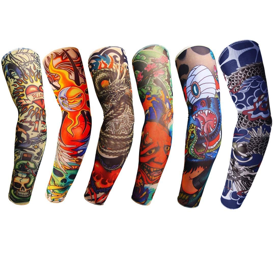 989681925d2 Get Quotations · KWLET 6pcs Temporary Fake Tattoo Arm Sleeves Cover Body  Art Stockings Summer UV Protection Arm Sunscreen