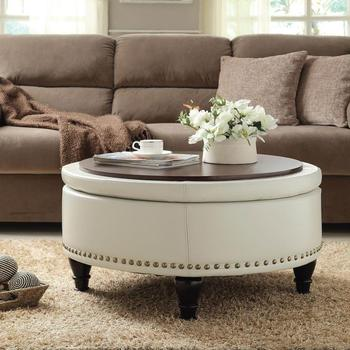 Over Sized Fabric Storage Pouf Cream Round Footstool Ottoman