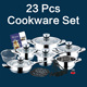 23Pcs Hot selling stainless steel hot pot casserole set kitchen cookware set