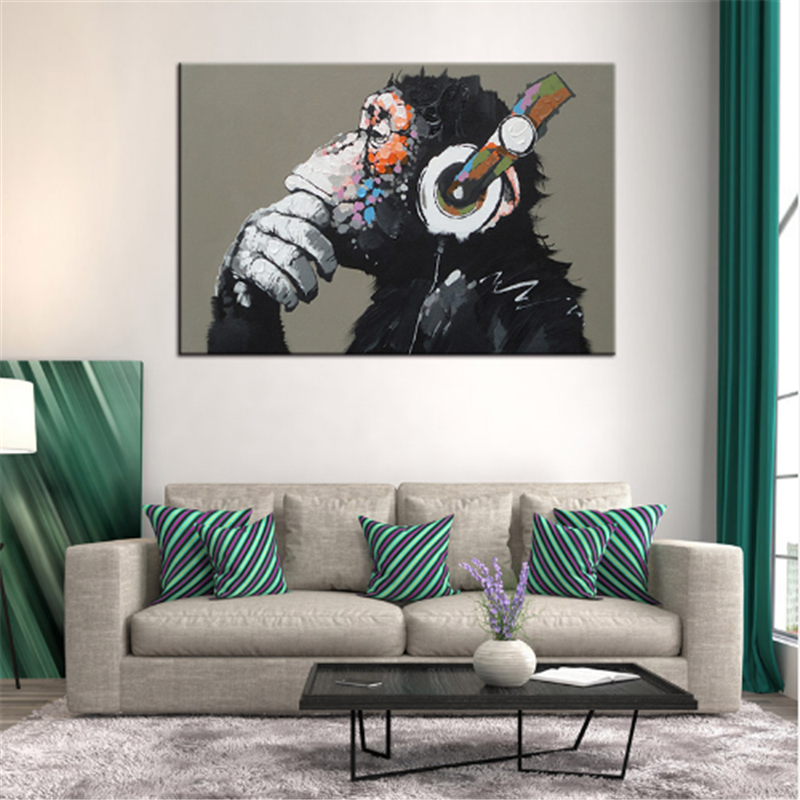 Large 1 Pcs Animal oil painting on canvas 3d wall art Funny Thinking Monkey with Headphone picture kids room decor cusdros