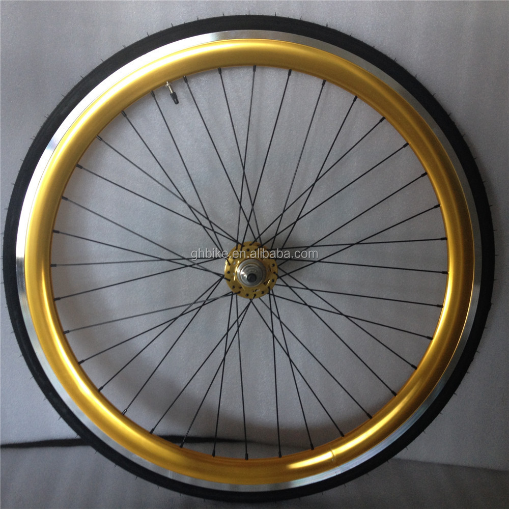 golden color fixie wheels 700C fixie wheelset