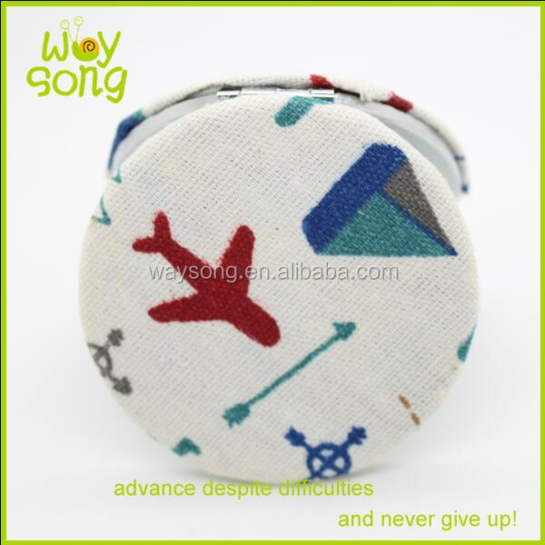 60mm Cute soft cotton fabric dot printed bowknot round compact mirror