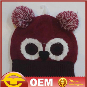 Big eye embroidered knitted cap Knitting hat made in China OEM
