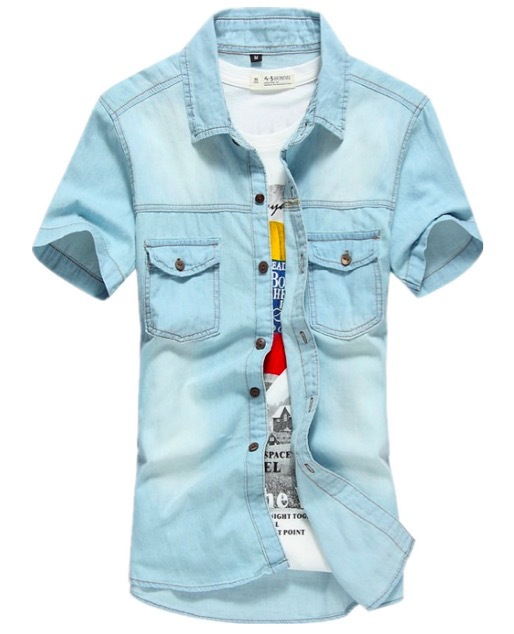 2015 Men's denim jeans Shirts casual Summer Fashion denim Shirt Short Sleeve Jeans Shirts Men Plus Size 3XL casual shirts
