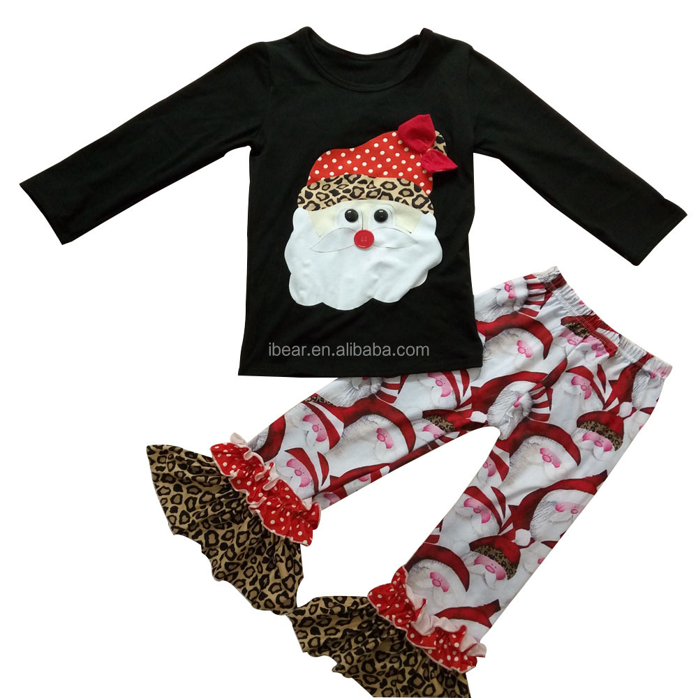 Wild Santa Outfit Double Ruffle Pants and Appliqued Santa Black Long Shirt outfit Boutique Christmas Baby Boys Girls Outfit