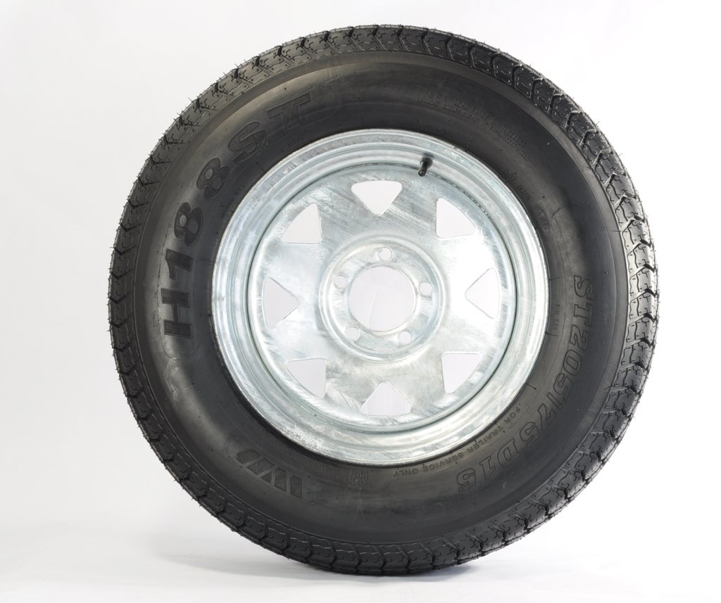 "eCustomRim Trailer Tire + Rim ST205/75D14 2057514 F78-14 14"" 5 Lug Wheel Spoke Galvanized"