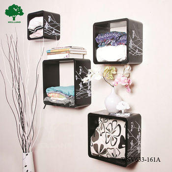 Wall Decor Wooden Cube Shelf