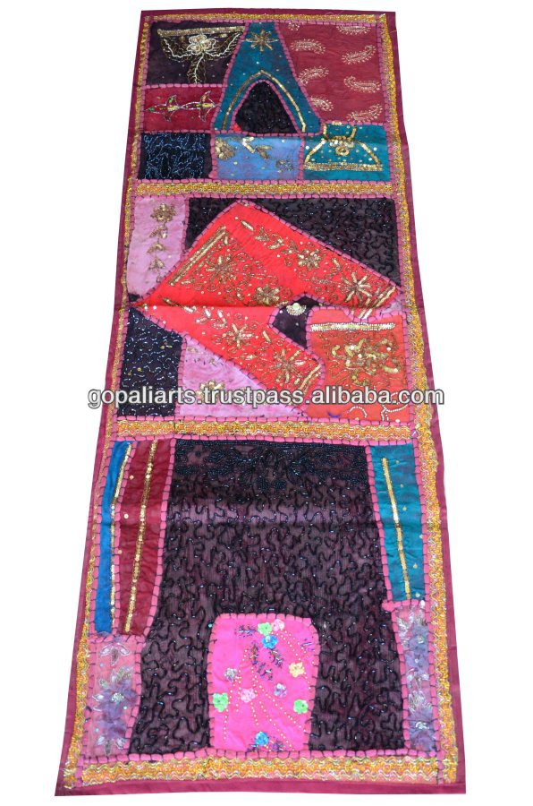 Indian Patchwork Tapestries Beaded Wall Hanging Wall Decor Sari ...