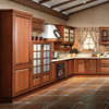 Popular solid wood American red oak carving finished cupboard modular kitchen cabinet designs