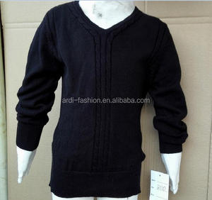 sales cheap US$1 US$2 baby kids pure cotton plain knitted v-neck cable sweater