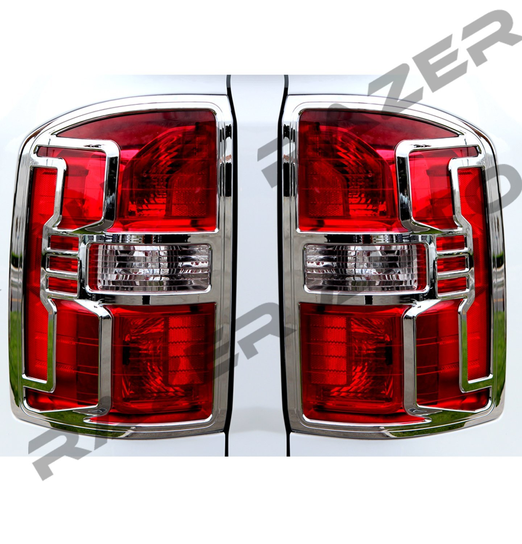 Razer Auto 2014-2016 GMC Sierra 1500, 2015-2016 GMC Sierra 2500/3500/HD Triple Chrome Plated Taillight Trim Bezel Cover 15 2015 16 2016