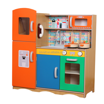 2018 New ArrIal Colorful Wooden Play Kitchen For Kids Lovely Wooden Toys