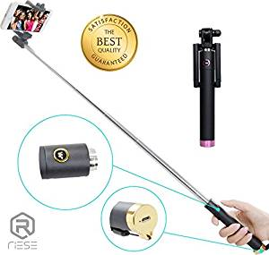 Selfie Stick Bluetooth Foldable Pocket Size - Pink Selfie Stick for iPhone 6 +, 6s Plus, 5, 4, Samsung Galaxy S6 Edge, S5, S4, Note 5, Note 4, LG, HTC & Others (Black/Pink)
