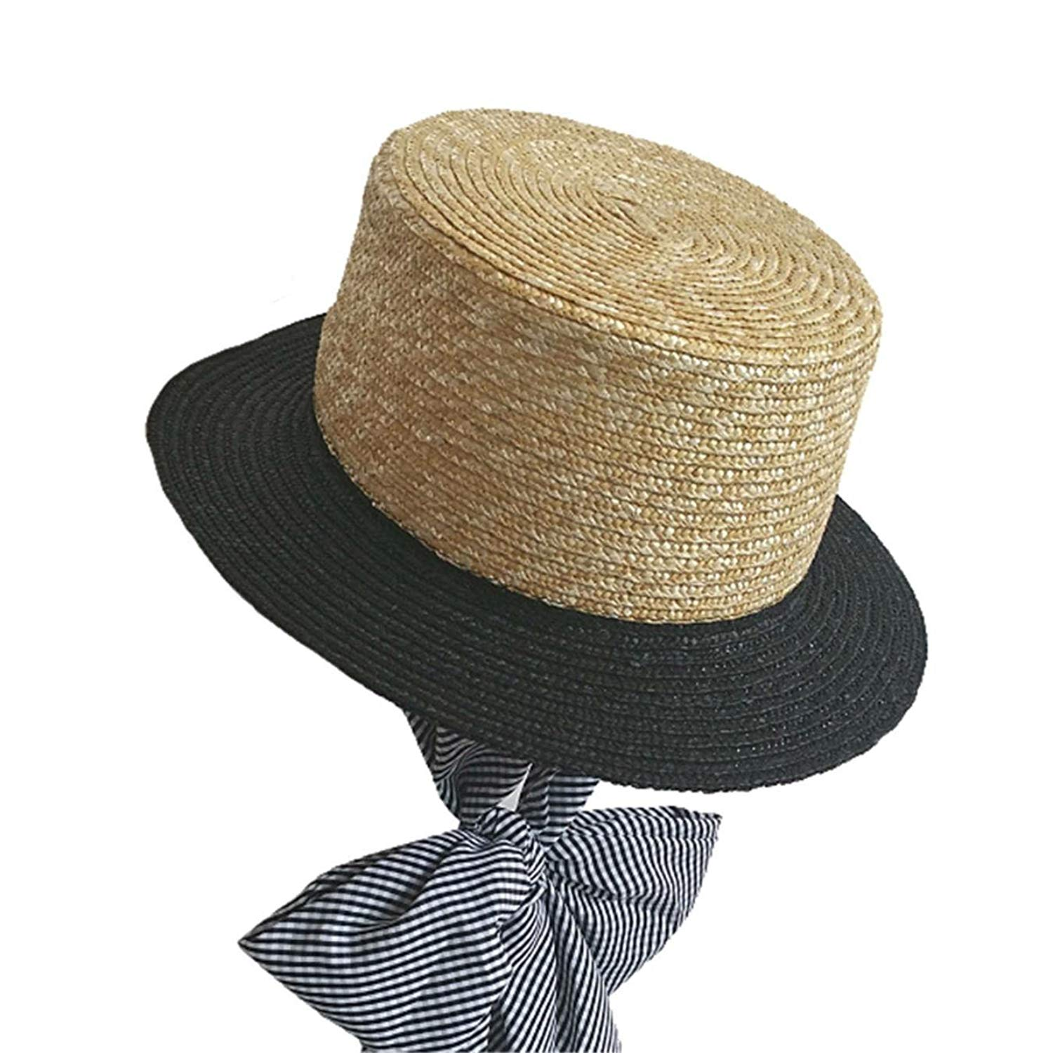aecfe948a19 Get Quotations · Womens Straw Hats Beige Bowknot Lace up Sun Hat Female  Patchwork Casual Elegant Bucket Caps Hawaii